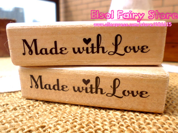 20pcs Lovely Border Wooden Decoration Stamp for DIY, Made with love Design HANDMADE and Flower Stamp
