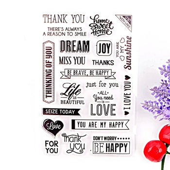 Clear Stamps Crafts and Scrapbooking DIY Photo Cards Album Thank You Design Transparent Silicone Stamp