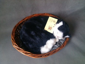 Simulation black sleeping cat,30x24cm breathing cat model with basket,polyethylene&furs toy,prop.home decoration Xmas gift w4198