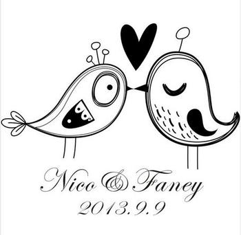 DIY Custom kissing love birds with name for wedding card Wood rubber Personalized Custom Wedding Stamps Invitation Card Seal