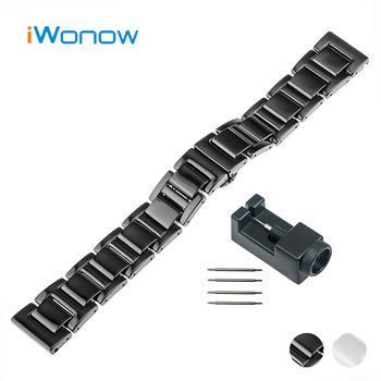 18mm Ceramic Watch Band for Withings Activite / Steel / Pop Butterfly Buckle Strap Wrist Belt Bracelet Black White + Spring Bar