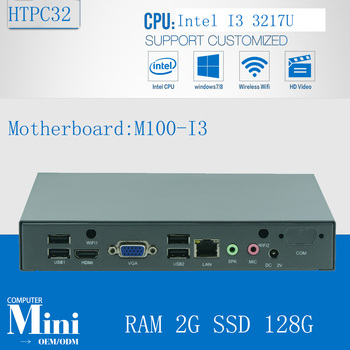 Factory ! Core i3 3217u support Ubuntu Linux MINI pc fanless htpc media player thin mini itx 2G RAM 128G SSD