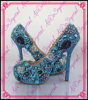 Aidocrystal most luxury rhinestone glitter blue wedding high heel shoes and bags to match women