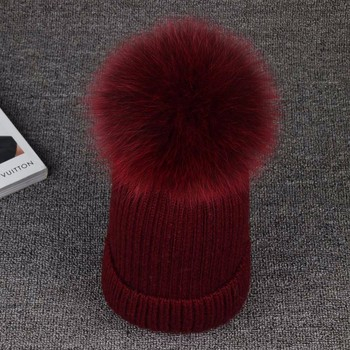 Winter Hat Real Mink Fur Colour Size 15CM Fox Pompom For Women Girl 's Wool Knitted Cap Thick Female Cap Skullies Beanies