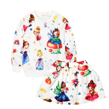 Novatx Girls clothing sets body suits cartoon small fairy autumn and winter children's clothing sets sports sweater skirt suit