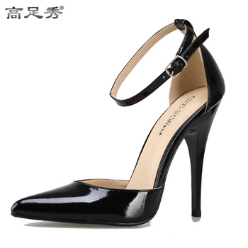 Shoes Woman 2016 Pumps Spring Autumn Sexy Super High-Heelsed foot ring Hollow With Thin straps Black Patent Leather Pointed shoe