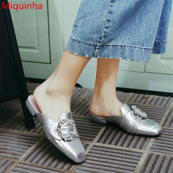 Miquinha Retro Square Toe Low Heel Women Slipper Street Style Women Star Spring Summer Shoes Crystal Buckle Decor Mujer Sandalia
