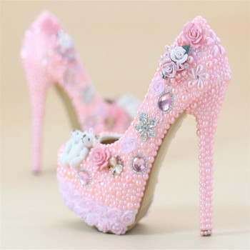 8cm/11cm/14cm Wedding shoes High-heeled shoes New pink Rhinestone shoes Pearl Lace shoes Bride shoes