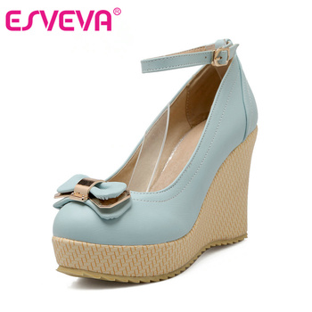 ESVEVA Lovely Pu Soft Leather Round Toe Wedges High Heel Ankle Strap Women Pumps Autumn/Spring Lady Party Shoes Size 34-43 Pink