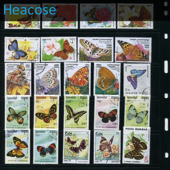 Butterfly,250 PCS All Different Used Postage Stamps With Post Mark In Good Condition For Collecting , WholeSale,
