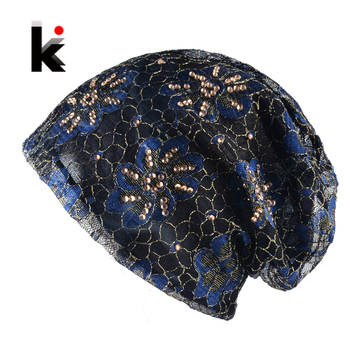 Women's Beanie Hat Lace Flower Rhinestones Turban Thin Skullies Hat For Ladies Spring And Autumn Bonnet Female Beanies Cap Women
