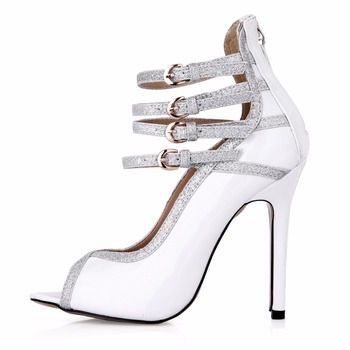 2017 New Black Sexy Party Shoes Women Open Toe Stiletto Super High Heels Buckle Strap Rome Ladies Pumps Zapatos Mujer 0640C-n1
