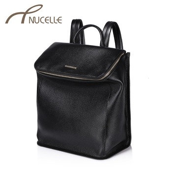 NUCELLE Women Genuine Leather Backpack Fashion Cowhide Travel Daily Brief Female Backpack Ladies School Shoulder Bag NZ4898