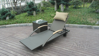 2 pcs Modern Rattan Sun Lounger , Folding Lounger With Side Tea Table transport by sea