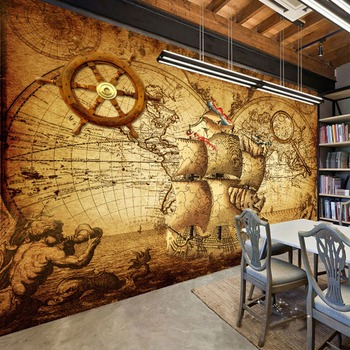 Retro Nostalgia Poster 3D Room Wallpaper Custom Mural Non-woven Wall Paper Decor Navigation Sailing World Map Mural Paintings