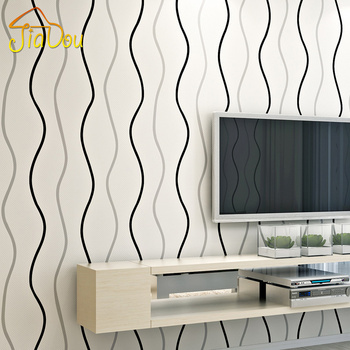 Modern Minimalist Stripe Non-woven Wallpaper Waves Curve Living room Bedroom TV Sofa Background Wallpaper Roll Papel De Parede
