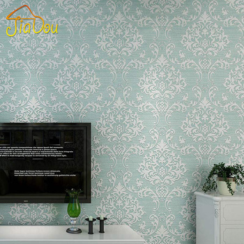 Simple European Damascus 3D Floral Embossed Non-woven Wallpaper Roll Bedroom Living Room TV Sofa Background Wall Paper Decor