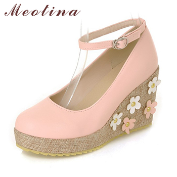 Meotina Shoes Women Pumps Fall Round Toe Ankle Strap Party Platform Wedges Female Flowers Sequined Pink Yellow Beige Shoes