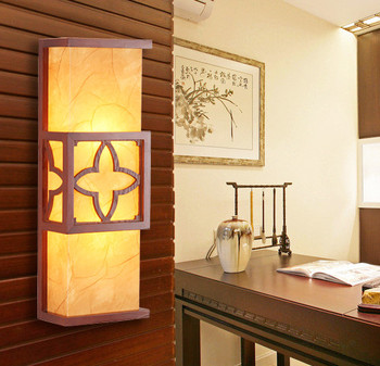 Chineses style red wood wall lamps Modern brief yellow parchment E27 two LED bulbs lamp for bedroom&porch&stairs&studio QLBD009