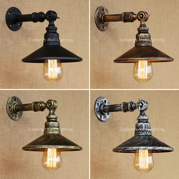 New RH Iron Industrial Pipes E27 Retro Lamp Vintage Loft American Aisle Water Pipe Wall Lamp Bar Restaurant