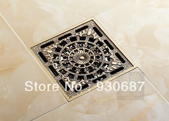 Extra Large Antique Brass 10cm Square Bathroom Floor Drain Shower Waste Water Strainer