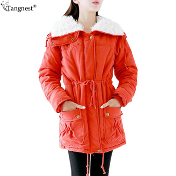 TANGNEST Winter Coat 2017 New Women Long Jacket Solid Berber Fleece Parkas Cotton Padded Coats Napka Jaqueta Outwear WWM484
