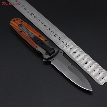 Dcbear DA59 Folding Knife Tactical Knife 3CR13 Camping Hiking Essential Equipment Wild Rescue Knife Wood+Aluminium Handle