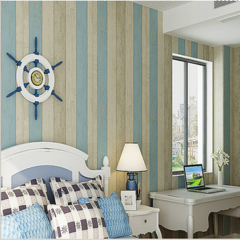 L&S WP16020 Modern 3D Striped Wallpaper Non-Woven Fabric Sea Sailor Pampproof Mediterranean Child Living Room Background