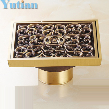 Antique Brass Carved Flower Art Bathroom Accessory Floor Drain Waste Grate100mm*100mm YT-2101