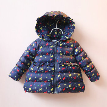 Girls winter down coat kids cotton outerwear hooded zipper white dark blue long sleeve bow printed casual thick jacket clothing