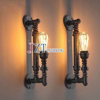 T 2 piece American Country Retro Wall Lamp Black Iron Pipe LED Bar lights porch light for Corridor Home Lighting Living Room