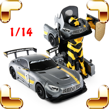 Gift RS AMG 1/14 2.4G RC Robot Remote Control Car Transform Electric Machine Toys USB Charge One Key Change Present