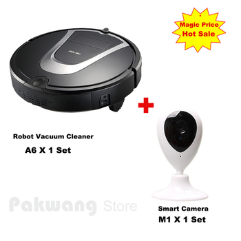 PAKWANG A6 Robot Vacuum Cleaner Schedule 600ML Dustbin Auto recharge Vacuum Cleaner for home And Baby/pet Monitor Smart Camera