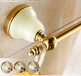60 cm Single Towel Bar,Towel Holder, Gold Towel rack Solid Brass & Jade Made,Classic Antique Bathroom Accessories
