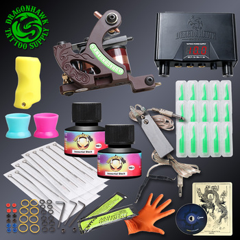 Professional Complete Tattoo kits With Lining Machine Tattoo Guns Sets Immortal Ink Disposable Tips Power Supply
