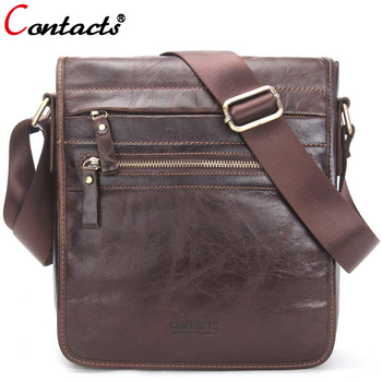 CONTACT'S Genuine Leather Bag Men Messenger Bags Large Capacity Business Male Crossbody Bags Designer Travel Men Bag Leather