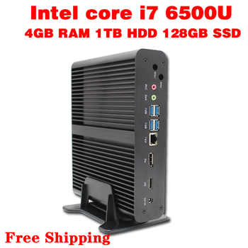 Mini PC Core i7 6500U Max 3.1GHz 4GB RAM 128GB SSD 1TB HDD Micro PC HTPC Intel HD Graphics 520 TV BOX usb 3.0