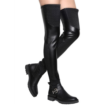 2016 Fashion Winter Women Long Boots Shoes Sexy Over-the-knee Boots Genuine Leather Elastic Motorcycle Boots Thigh High Boots