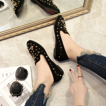 2017 Spring Shoes All-Match Square Toe Little Bees Women Loafers Shallow Mouth Casual Pedal Rivet flats