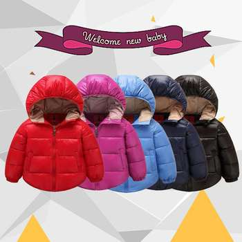 New Fashion 5 Colors Babies Boys Girls Autumn Winter Thick Type Cotton Coats Jackets Kids Hooded Warm Overall Outerwear Clothes