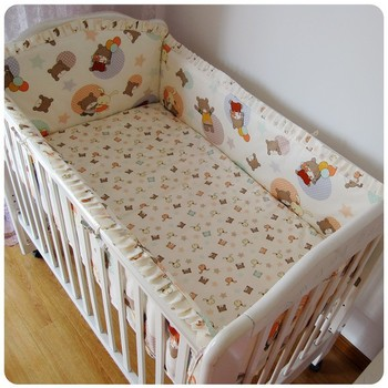 Promotion! 6PCS Baby bedding kit baby bed around baby bed cotton (bumper+sheet+pillow cover)