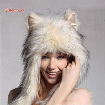 Kenmont Cosplay Magicorn Hood Novelty Winter Hat, Funky Animal-like Hat With Package 4811-36 Beige