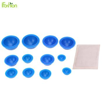 12Pcs Silicone Massage Vacuum Therapy Body Cups Cupping Set + Moxa Paste Full Body Massager Kits Health Care
