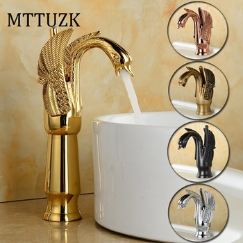 MTTUZK Deck Mounted Luxury Antique Brass Hot and Cold Mixer Taps Swan faucet Gold plated wash basin faucet Height Up Faucet