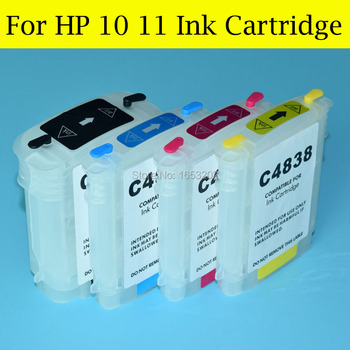 4 Color/Set Empty Refill Ink Cartridge For HP 10 11 With ARC Chip For HP Officejet 9110 9120 9130 K850 CP1700 Printer