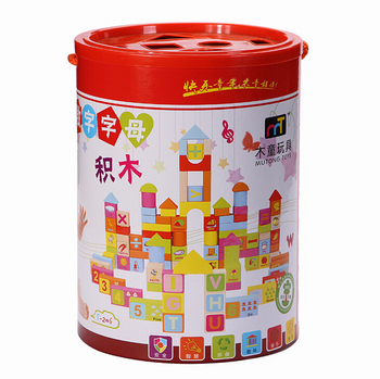 102pcs Number Letter Wood Blocks Toy Creative Develop Design Building Eco Friendly Colorful Water Based Paint for kids