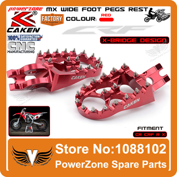 Billet MX Wide Foot Pegs Rests Pedals X Bridge CR125 CR250 CRF450X CRF230F CRF250R CRF250X CRF450R Offroad Dirt Bike Motocross