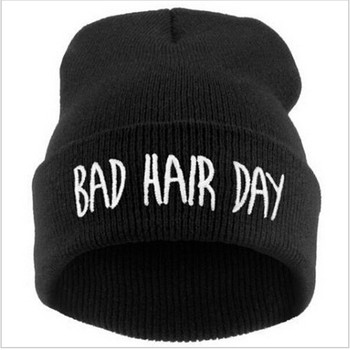 7 Colors Casual Caps Winter Bad Hair Day Beanie Cap Sport Women Men Knitted Hiphop Hats Warmer Cap Letter pattern
