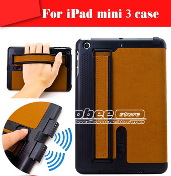 Multifunction Case For Ipad Mini3 Arm Band Loud Speaker Smart Cover,Luxury Leather Magnetic Case for iPad MiNi 3 with touch ID