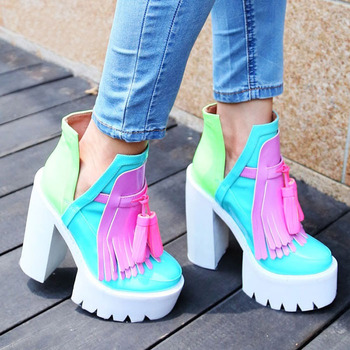 New brand fashion women platform ultra high heels Europe and America style splicing thick heel tassel women shoes